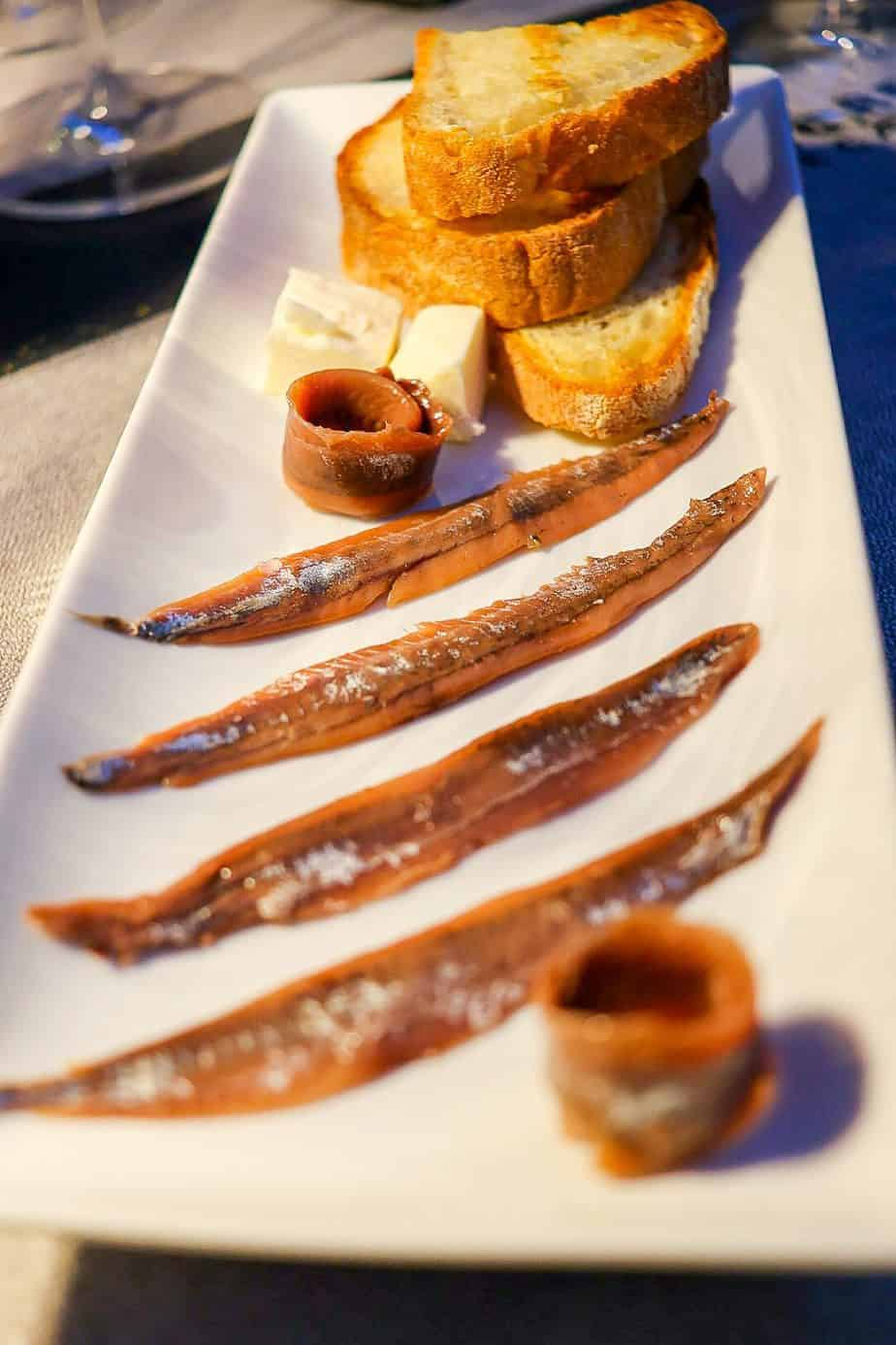 Petricore Enoteca salted anchovy with butter and toast